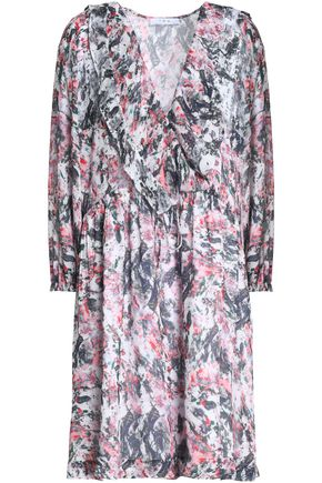IRO Ruffle-trimmed floral-print crepe de chine dress