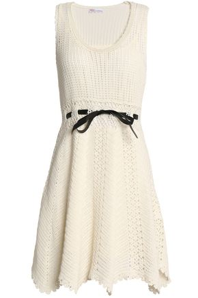 REDValentino Satin-trimmed crocheted cotton dress