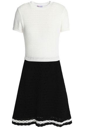 REDValentino Two-tone crocheted cotton dress