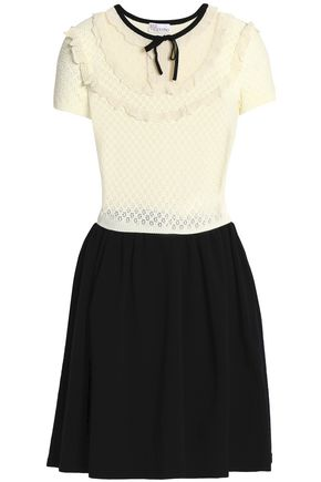 REDValentino Point d'esprit and open-knit paneled stretch mini dress