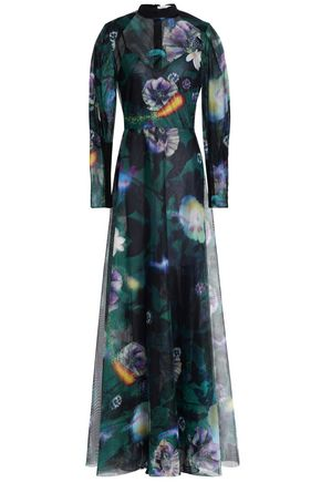 MARY KATRANTZOU Printed tulle maxi dress