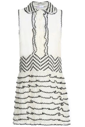 REDValentino Organza-paneled tiered embroidered tulle mini dress