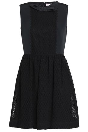 REDValentino Bow-embellished faille and cotton-blend lace mini dress