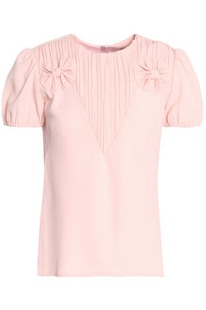 REDValentino Bow-embellished pleated crepe top