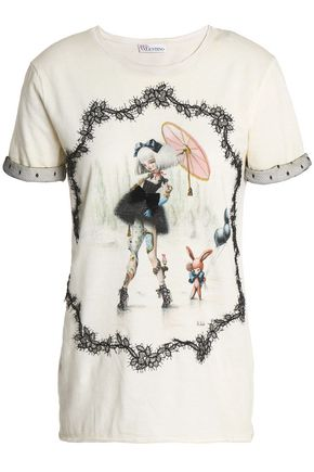 REDValentino Lace-trimmed printed cotton-jersey T-shirt