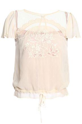 REDValentino Embroidered silk-georgette top