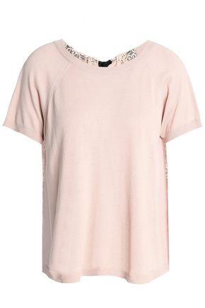 REDValentino Tie-back lace-paneled cotton-blend top