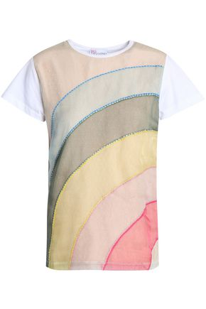 REDValentino Point d'esprit-paneled cotton-jersey T-shirt