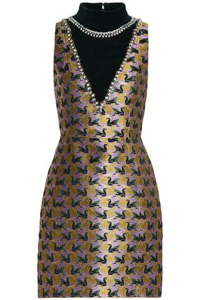 MARY KATRANTZOU Emebllished velvet-paneled jacquard mini dress
