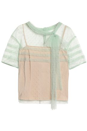 REDValentino Pussy-bow pleated point d'esprit top