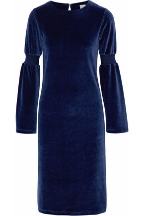 IRIS & INK Lynnie cotton-blend velvet dress