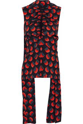 SOLACE LONDON Mahlah cutout ruched printed silk top