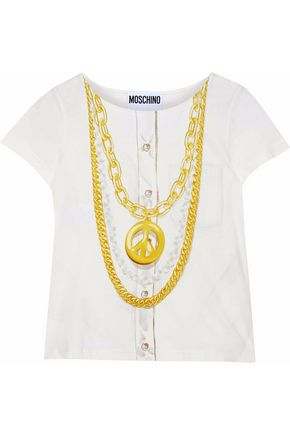 MOSCHINO Printed slub cotton-jersey T-shirt