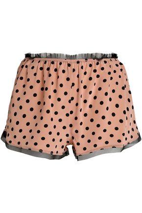 REDValentino Polka-dot fringe-trimmed silk pajama shorts