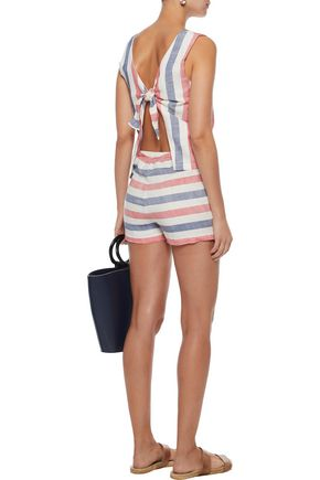 SOLID & STRIPED The Michy tie-back striped cotton-blend gauze playsuit