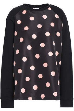 REDValentino Polka-dot satin-paneled French cotton-terry sweatshirt