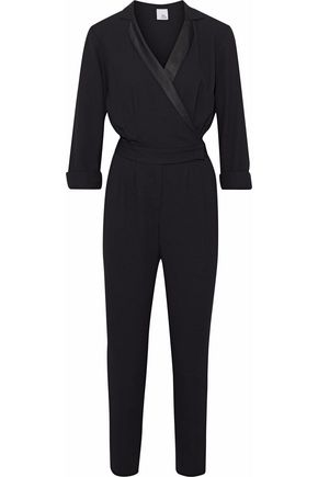 IRIS & INK Liberty wrap-effect satin-trimmed crepe jumpsuit