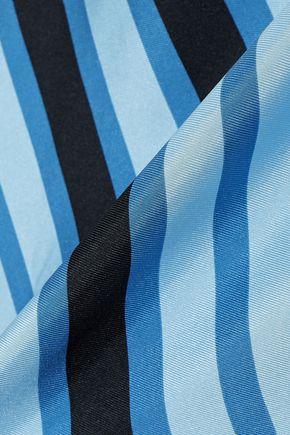 DIANE VON FURSTENBERG Asymmetric layered striped silk-twill midi dress