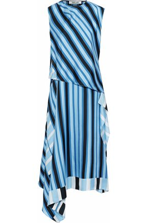 DIANE VON FURSTENBERG Asymmetric layered striped silk-twill midi dress