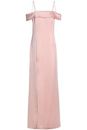 HALSTON HERITAGE Cold-shoulder satin-crepe gown
