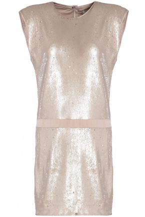 HALSTON HERITAGE Sequined crepe mini dress