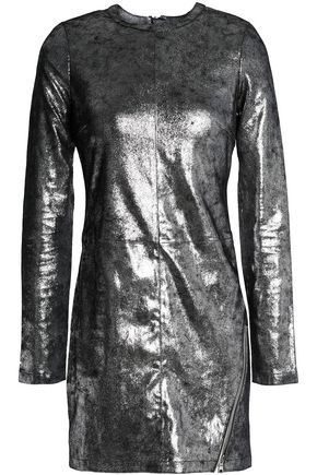 RTA Metallic leather mini dress