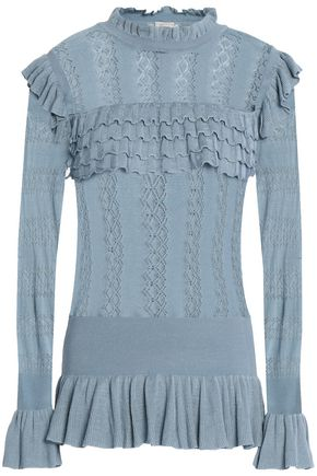 TEMPERLEY LONDON Ruffle-trimmed pointelle-knit sweater
