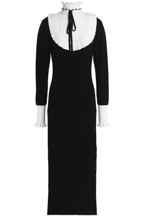 TEMPERLEY LONDON Sigmund pointelle knit-paneled pleated wool-blend midi dress