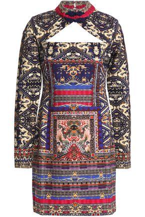CAMILLA Cutout crystal-embellished printed jersey mini dress