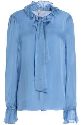 TEMPERLEY LONDON Costume pussy-bow ruffle-trimmed silk-chiffon shirt