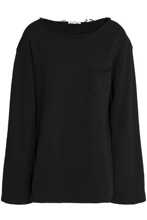 HELMUT LANG Frayed French cotton-terry sweatshirt