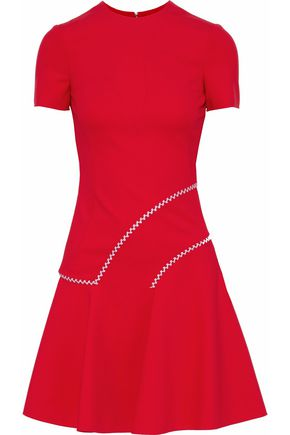 VERSACE Flared embroidered ponte mini dress