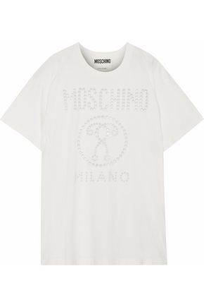 MOSCHINO Eyelet-embellished cotton-jersey T-shirt