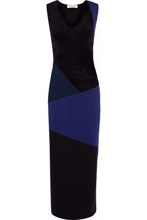 DIANE VON FURSTENBERG Terry-paneled color-block merino wool-blend midi dress