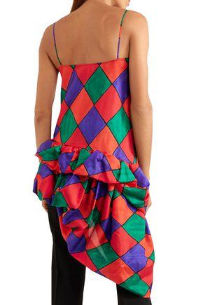 ISA ARFEN Asymmetric draped printed silk top
