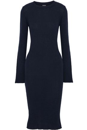 IRIS & INK Danielle ribbed merino wool-blend dress