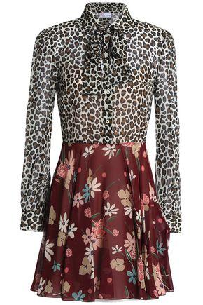 REDValentino Leopard-print silk-blend georgette mini dress
