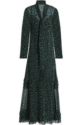 REDValentino Pussy-bow leopard-print silk-blend georgette mini dress