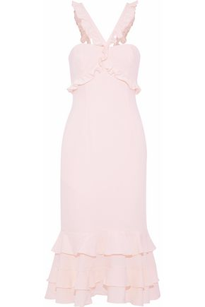 CINQ À SEPT Kimora ruffle-trimmed tiered crepe midi dress
