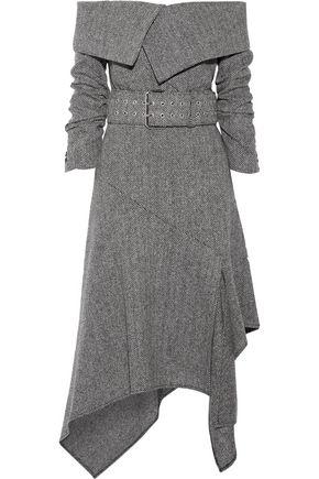 MONSE Asymmetric off-the-shoulder herringbone wool midi dress