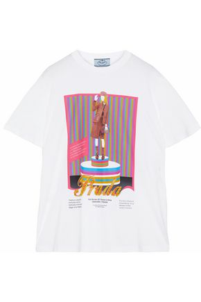 PRADA Bead-embellished printed cotton-jersey T-shirt