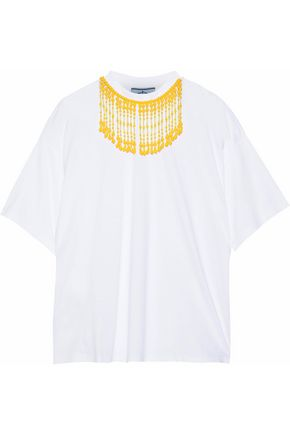PRADA Bead-embellished cotton-jersey T-shirt