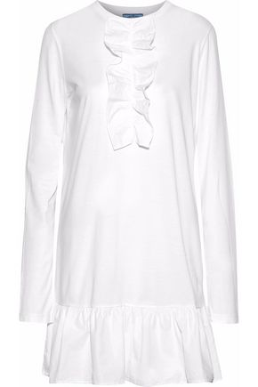 PRADA Ruffled poplin-trimmed cotton-jersey mini dress