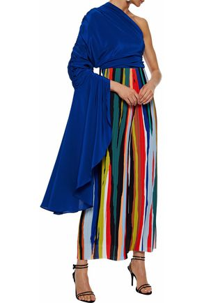 SOLACE LONDON Reyna one-shoulder draped two-tone silk-satin bodysuit