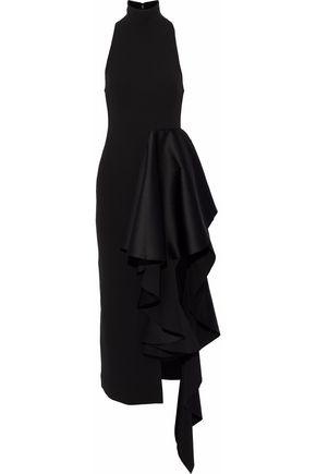 SOLACE LONDON Ruffled duchesse satin-paneled crepe midi dress