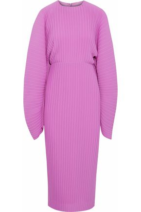 SOLACE LONDON Plissé-crepe midi dress