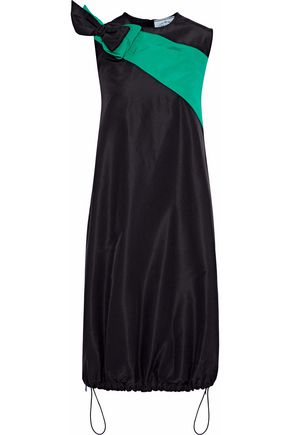 PRADA Bow-embellished color-block silk-faille dress