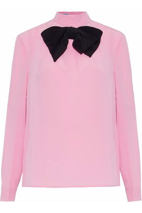 PRADA Bow-embellished silk crepe de chine blouse
