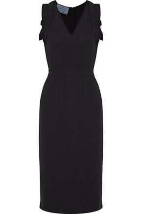 PRADA Ruffle-trimmed crepe dress