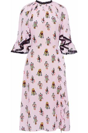 PRADA Lace-trimmed ruffled printed silk crepe de chine dress